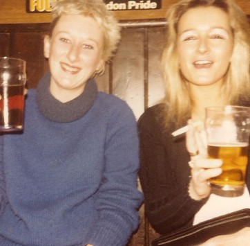 Here I am having a pint with my mate Linda in the seventies!