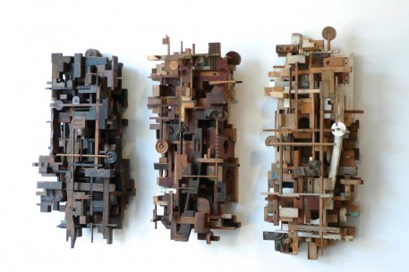Lament, a triptych made from salvaged wood