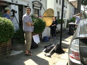 Ivano Darra during filming outside Joseph Boshier's house in Southwell Road, Camberwell, south London.